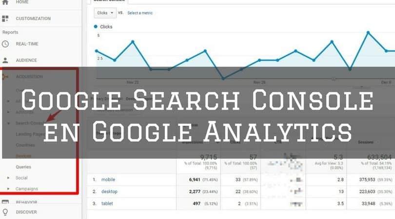 reportes de Google Search console integrados en Google Analytics