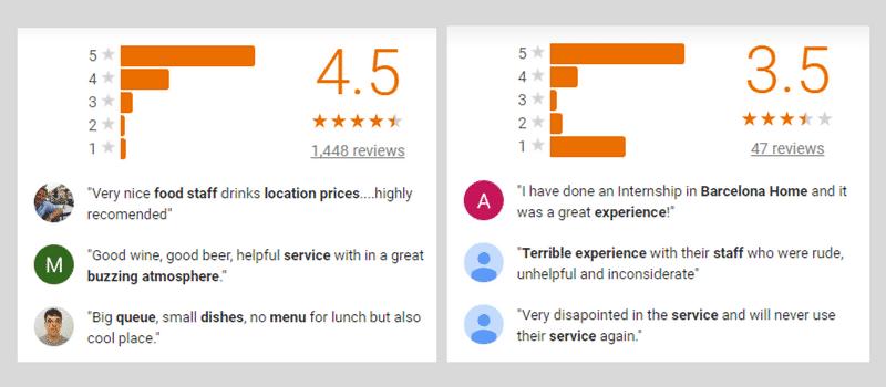 Reviews y comentarios en GMB