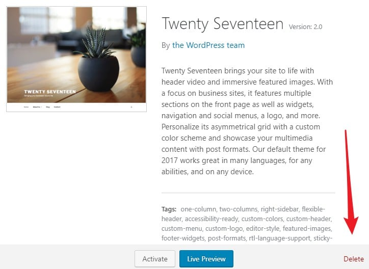 borrar tema wordpress 1