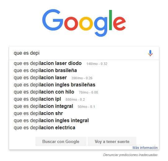 google sugerencias busqueda
