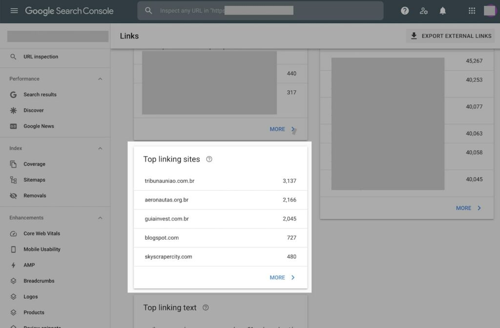 reporte de links en google search console