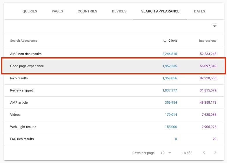 filtro experiencia de pagina resultados de busqueda 22.32.26