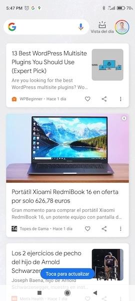 Pantalla de Google Discover