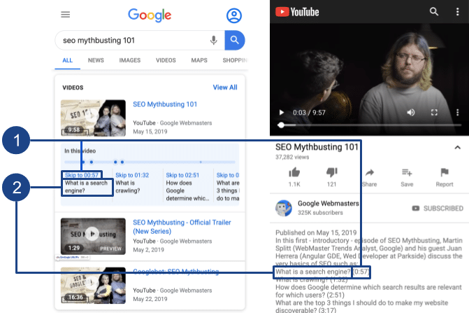 video timestamps on youtube