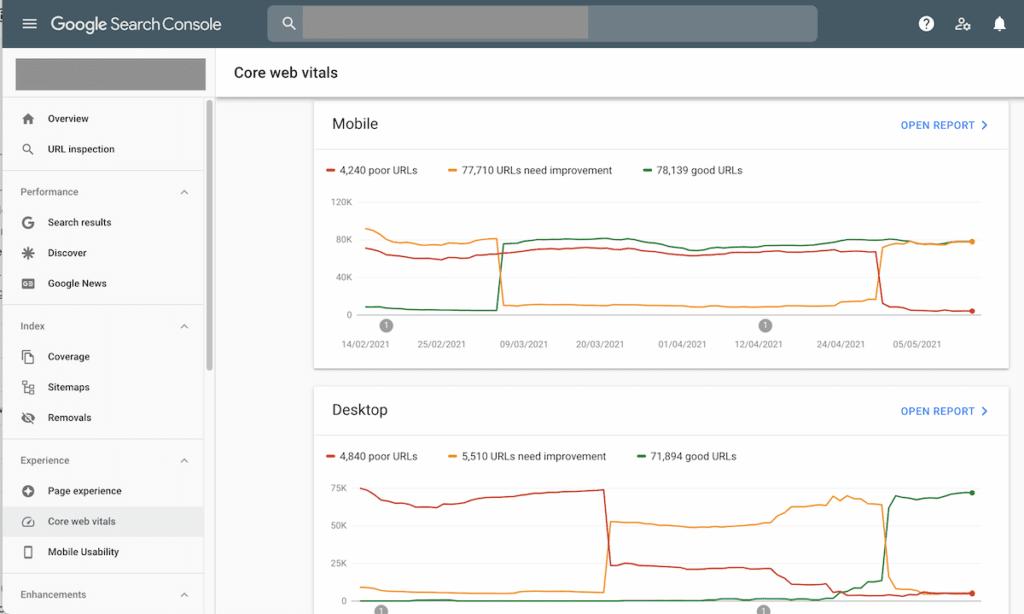 Core Web Vitals en Google Search Console