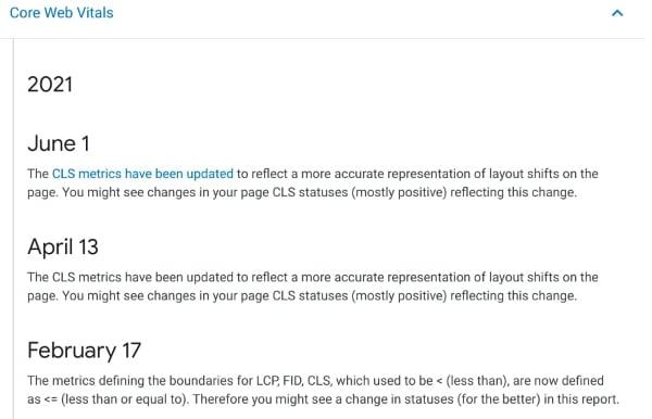 Notificaciones de Google sobre el cambio en la métrica de CLS