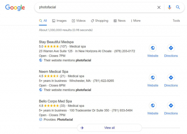 t google local pack without map 1626346458