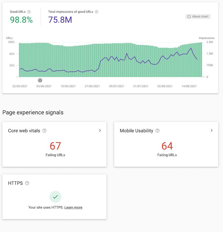 nuevo informe experiencia de pagina gsc