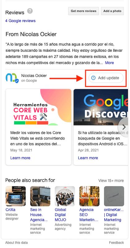 """botón """"agregar actualización"""" encima de la sección de Publicaciones de Google del panel de conocimiento local:"""