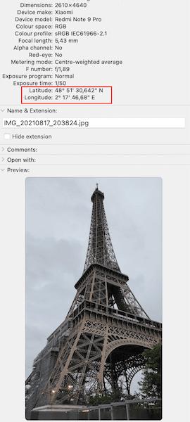 Fotografía de la Torre Eiffel con la latitud y longitud en la meta data de la imágen